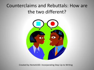 PPT Counterclaims and Rebuttals Task 2