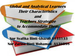 Global and Analytical Learners Their Characteristics