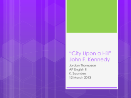 City Upon a Hill - AP English Language and Composition