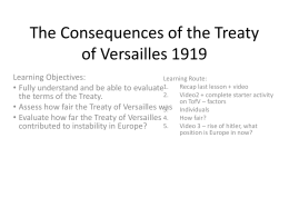 The Consequences of the Treaty of Versailles