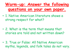 Native American Literature Time Period Lesson 34