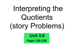 3.8 Solving Story Problems - Mrs. Crawford`s 6th Grade Class
