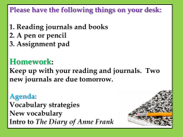 The Diary of Anne Frank: Vocabulary PowerPoint