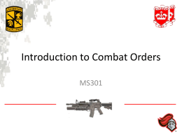 Introduction to Combat Orders - Rutgers University Army ROTC