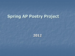 Spring AP Poetry Project 2012