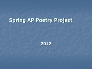 "Spring AP Poetry Project 2012 ""I dwell in possibility"""