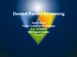 Denied Parties Screening - Massachusetts Small Business