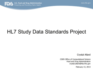 CDISC-HL7 Study Data Standards
