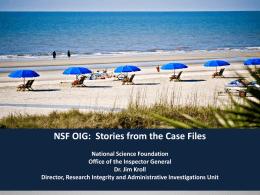 NSF/OIG Stories from the Case Files