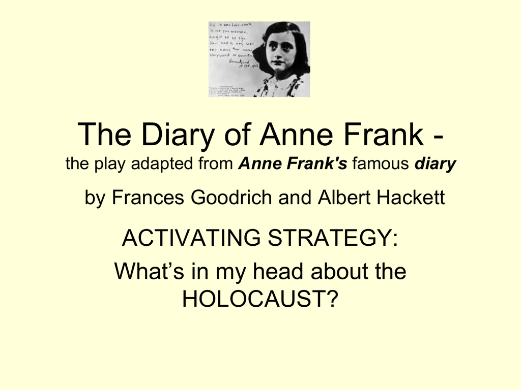 The Diary of Anne Frank Lesson Plans for Teachers