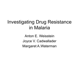 Investigating Seasonal Drug Resistance in Malaria