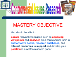 Controversial Issues Research Powerpoint