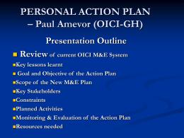 PERSONAL ACTION PLAN – Paul Amevor (OICI-GH)