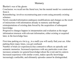 Memory Bartlett`s war of the ghosts Conclusion: we recall