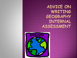 advice on writing geography internal assessment