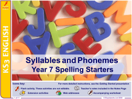 Syllables and Phonemes