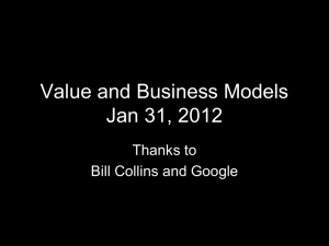 Business Models Jan 22, 2009