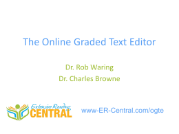 Introducing the Online Graded Text Editor