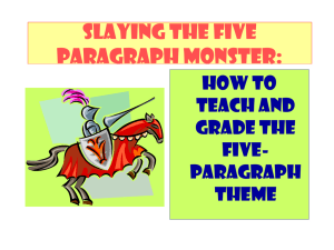 SLAYING THE FIVE PARAGRAPH MONSTER: