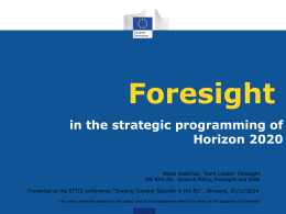 Foresight in Horizon 2020 strategic planning