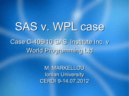 SAS v. WPL case Case C-406/10 SAS Institute Inc. v World
