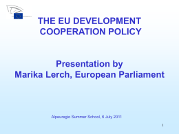 INTRO-PROGRAMME DG Internal Policies & DG External Policies