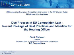 DG Competition - Fifth Annual Conference on Competition