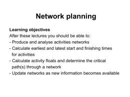 Lecture 2 – Network planning
