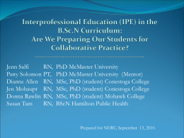 (IPE) in the B.Sc.N Curriculum