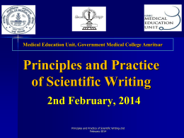 Objectives of Workshop - Government Medical College, Amritsar