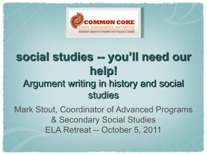 social studies -- you`ll need our help! Argument writing in history and