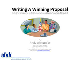 Writing a Winning Proposal