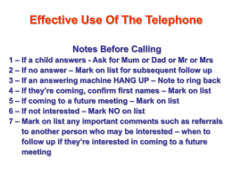 Effective Use Of The Telephone