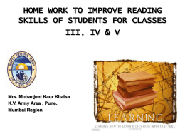 home work to improve reading skills of students for classes iii, iv & v