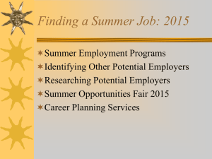 Summer Job Searching 2015