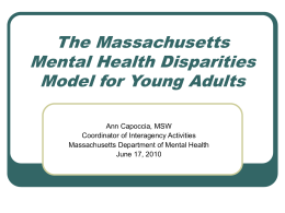 The Massachusetts Mental Health Disparities Model for Young Adults