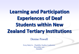 Learning and Participation Experiences of Deaf Students D