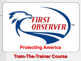 First Observer™ Train-The