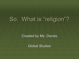 "So. What is ""religion""?"