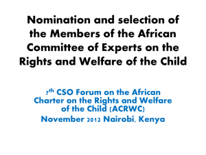Nomination and selection of the Members of the African Committee