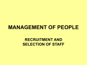 2. Recruitment & selection of staff