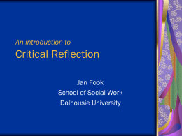 Introduction to Critcal Reflection