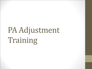 PA Adjustment Training Slides