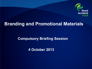 Branding and Promotional Materials:Briefing Session presentation