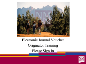 Electronic Journal Voucher – Originator