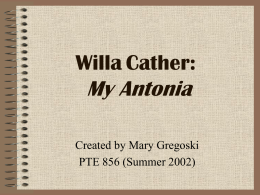 Willa Cather: My Antonia