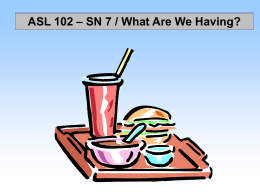 "SN 7 - ""Food"" Supplemental Vocabulary Signs"