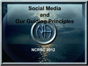 Social Media and Our Guiding Principles
