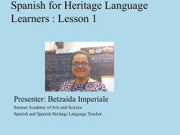 Spanish for Heritage Language Learners : Lesson 1