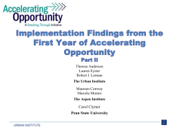 The Urban Institute - Accelerating Opportunity